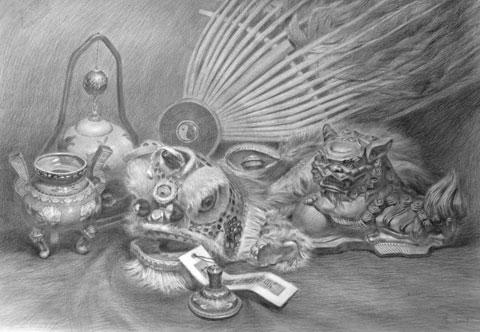 大师门采尔静物素描作品欣赏大全-18副高清大图(-门采尔静物素描 门